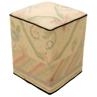 Modern Multicolored Decorative Kilim Cube Wool Ottoman