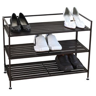 Oceanstar Bronze 3-tier Stackable Metal Shoe Shelf