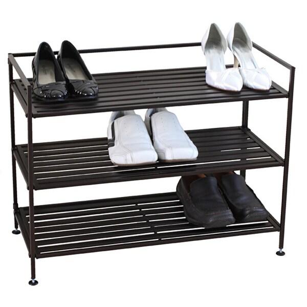 Oceanstar Bronze 3-tier Stackable Metal Shoe Shelf