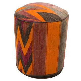 Decorative Kilim Brown/Grey/Orange Wool Ottomans