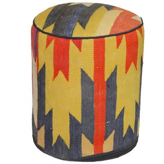 Decorative Kilim Orange/Tan/Yellow Wool Ottoman