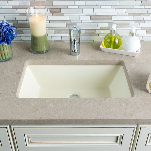 Hahn Ceramic Bisque Large Rectangular Bowl Undermount Bathroom Sink