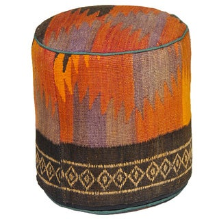 Decorative Kilim Brown/Grey/Orange Wool Ottoman