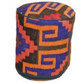 Decorative Kilim Orange/Pink/Purple Wool Ottoman