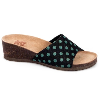 Women's 'Lea' Turquoise Polka Dot Slide Wedge Sandals