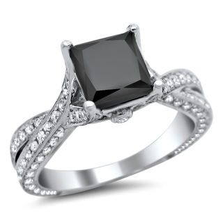 14k White Gold 2 1/2ct TDW Certified Black Princess Cut Diamond Ring