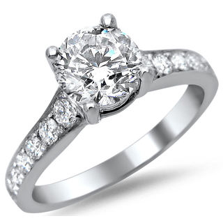 14k White Gold 1.40ct TDW Round Diamond Pave Engagement Ring