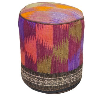 Decorative Kilim Brown/Green/Orange Wool Ottoman