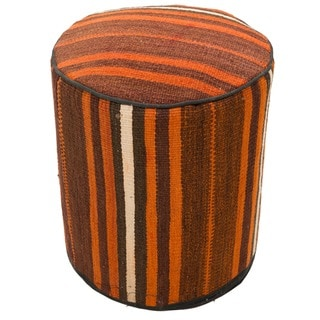 Decorative Kilim Brown/Orange/Walnut Wool Ottoman