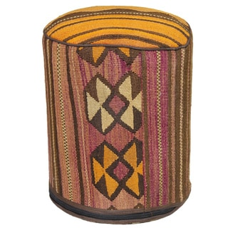 Decorative Kilim Wool Brown/Orange/Pink Ottoman