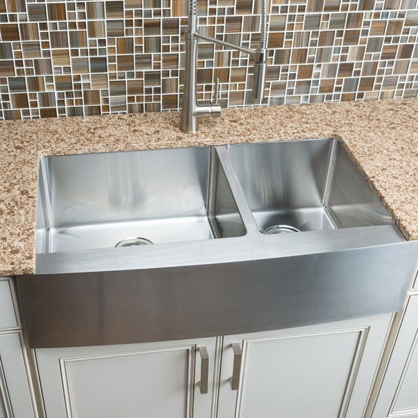 Hahn Copper Farmhouse Extra Large Kitchen Sink: Hahn Chef Series Handmade Extra Large 60/40 Double Bowl