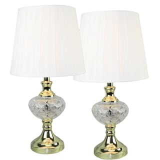 Crystal on Brass Table Lamp (Set of 2)