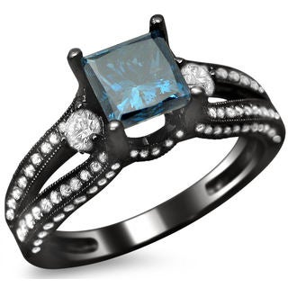 14k Black Gold 1 1/2ct TDW Certified Blue and White Princess Cut Diamond Ring (F-G, VS1-VS2)