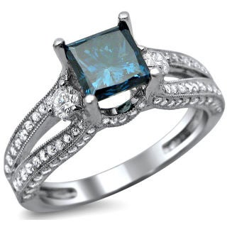 14k White Gold 1 1/2ct TDW Certified Princess Cut Blue and White Diamond Ring (F-G, VS1-VS2)