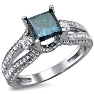 Noori 14k White Gold 1 1/2ct TDW Certified Princess Cut Blue and White Diamond Ring (F-G, VS1-VS2)