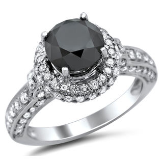 14k White Gold 2 5/8ct TDW Certified Black and White Round Diamond Halo Ring (G-H, SI1-SI2)