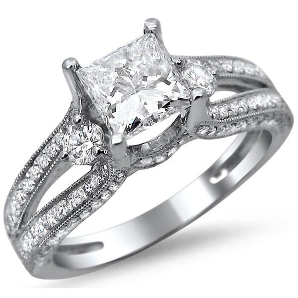 14k White Gold 1 1 2ct TDW Princess Cut Diamond Engagement Ring G H SI1 SI2