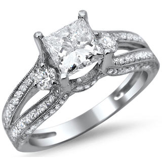 14k White Gold 1 1/2ct TDW Certified Princess Cut Diamond Engagement Ring (G-H, SI1-SI2)