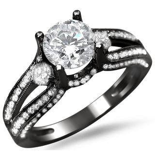 14k Black Gold 1 1/2ct TDW Round Diamond Split Shank Engagement Ring (G-H, SI1-SI2)