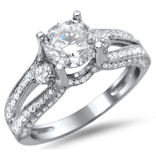 14k White Gold 1 1/2ct TDW Certified Round Diamond Split Shank Engagement Ring (G-H, SI1-SI2)