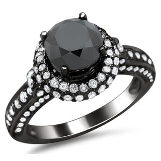 14k Black Gold 2 5/8ct TDW Certified Black and White Round Diamond Halo Ring (G-H, SI1-SI2)