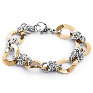 Rose Gold Plated Two-tone Stainless Steel Oval Chain Link Bracelet