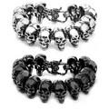 Men's Stainless Steel Grinning Skull Link Lobster Claw Bracelet
