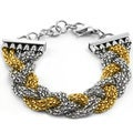 Gold Plated Two-tone Stainless Steel Braided Chain Bracelet with Extension