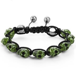 Men's Green Resin Grinning Skull Bead Adjustable Cord Bracelet