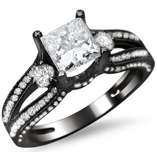 Noori 14k Black Gold 1 1/2ct TDW Certified Enhanced Princess Cut Diamond Ring (G-H, SI1-SI2)
