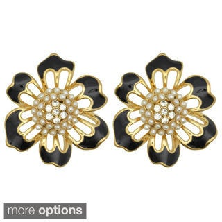 Kate Marie 'Vivian' Acrylic and Rhinestone Flower-shaped Stud Earrings