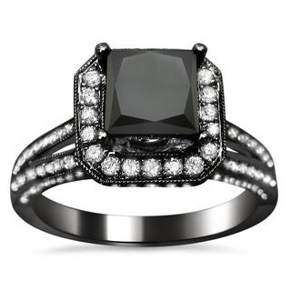 Noori 18k Black Gold 2 5/8ct TDW Certified Princess-cut Black and White Diamond Ring