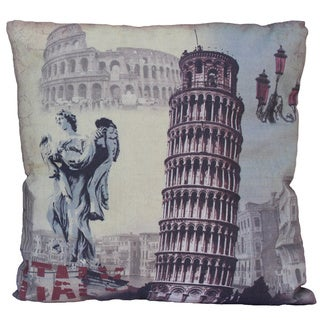 Italy-themed Flax Fiber Throw Pillow