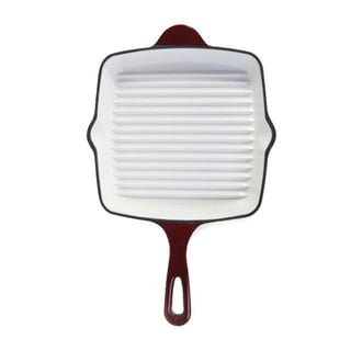 Danesco Enameled Cast Iron Red 10-inch Grill Pan