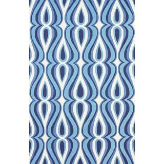 nuLOOM Hand-hooked Modern Swoosh Blue Polyester Rug (7'6 x 9'6)