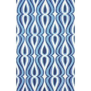 nuLOOM Hand-hooked Modern Swoosh Blue Polyester Rug (8'6 x 11'6)