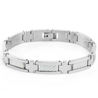Stainless Steel Men's White Carbon Fiber Center-link Bracelet