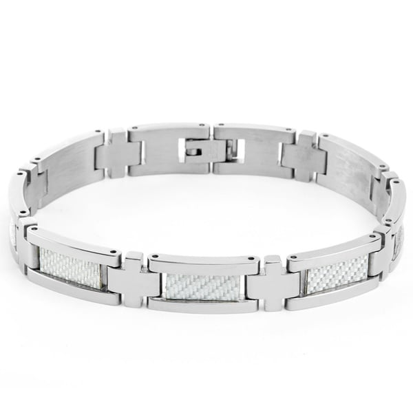 Stainless Steel Men's White Carbon Fiber Center-link Bracelet