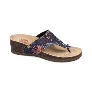 Muk Luks Women's 'Cara' Blue Firework Print Wedge Sandals