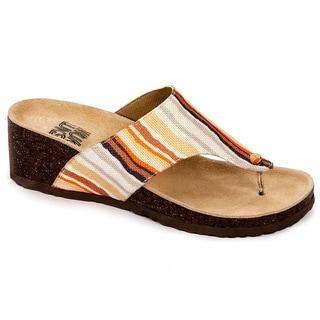 Muk Luks Women's 'Cara' Orange Striped Thong Wedge Sandals