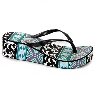 Muk Luks Women's Bright Blue Printed Wedge Flip-flops