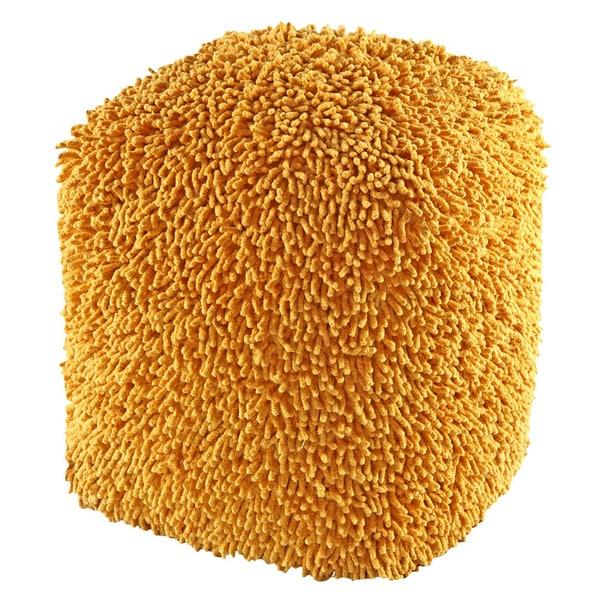 Yellow Shagadelic 19-inch Chenille Pouf