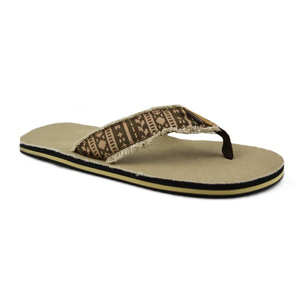 Men's 'Landon' Brown Textured Sport Flip-flops