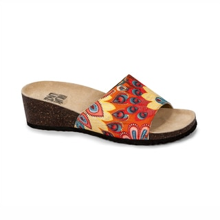 Muk Luks Women's 'Lea' Orange Peacock Print Slide Wedge Sandals