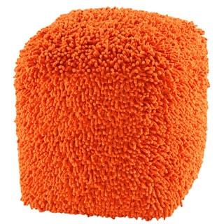 Orange Shagadelic 19-inch Chenille Pouf
