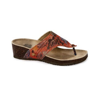 Muk Luks Women's 'Cara' Red Firework Print Wedge Sandals