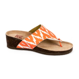 Muk Luks Women's 'Cara' Orange Print Wedge Sandals
