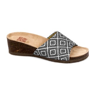 Muk Luks Women's 'Lea' Black/ White Print Slide Wedge Sandals