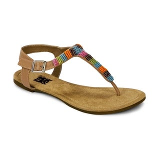 Muk Luks Women's 'Mila' Tan Beaded T-strap Sandals