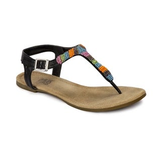 Muk Luks Women's 'Mila' Black Beaded T-strap Sandals